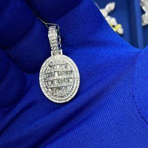 14k White Gold Men's Custom Diamond Pendant